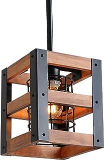 Eumyviv Cube Wood Metal Chandelier Net Cage Pendant Lighting for Kitchen Island, Rustic Industrial Edison Hanging Light Vintage Ceiling Light Fixture 1-Light (P0015)