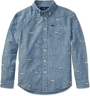 RALPH LAUREN Polo Boys' Linen Cotton Embroidered Long Sleeve Chambray Shirt, Blue