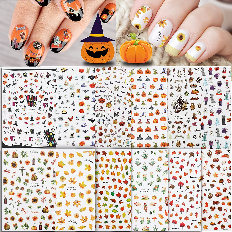 Whaline 1000+ Max 73% OFF Autumn Halloween Nail Under blast sales Art Stickers Sheet Fall 12