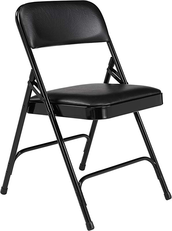 4 Pack NPS 1200 Series Premium Vinyl Upholstered Double Hinge Folding Chair Caviar Black