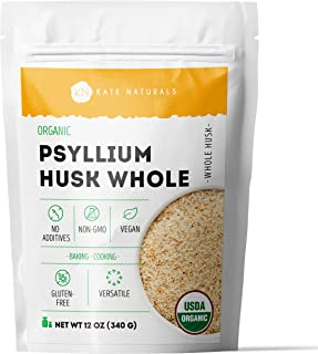 Organic Whole Psyllium Husk (12oz) by Kate Naturals. Delicious Whole Psyllium Husk in Resealable Bag for Added Fiber. Glut...