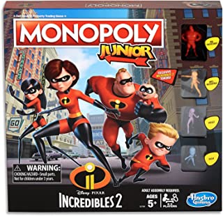 MONOPOLY Junior - The Incredibles 2 Edition - 2 to 4 Players - Kids Board Games & Toys - Ages 5+