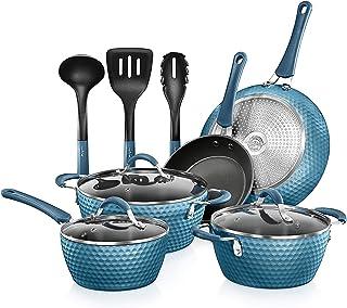 NutriChef Nonstick Cookware Excilon   Home Kitchen Ware Pots & Pan Set with Saucepan, Frying Pans, Cooking Pots, Lids, Ute...