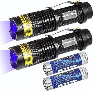 چراغ قوه DARKBEAM UV 365 نانومتری 2 بسته چراغ چوبی Blacklight LED قابل حمل مشعل کوچک قابل حمل برای سگ ادراری حیوان خانگی 370nm شناسایی ضد جعل ، پخت رزین