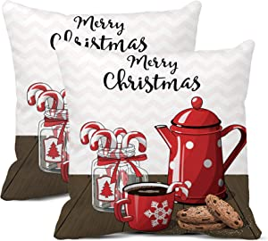 rouihot Set of 2 Throw Pillow Covers 20x20 Inch Red Vintage Coffee Pot with Cup Glass Jar Candy Canes and Cookies on Brown Wood Home Decor Pillowcases Square Cushion Covers for Sofa Bed
