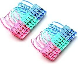 JCBIZ 24Pcs Clothes Peg Clip Pins,Multicolor Rope Clip Hanging Clothes line Windproof Hanger Sock Clothes Drying Peg PP Plastic Clips Hooks