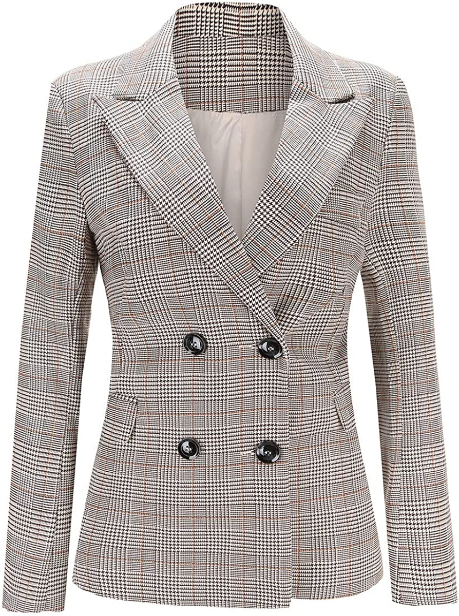 Women's Double Breasted Luxury Two Free shipping on posting reviews Button Sui Work Office Jacket Blazer