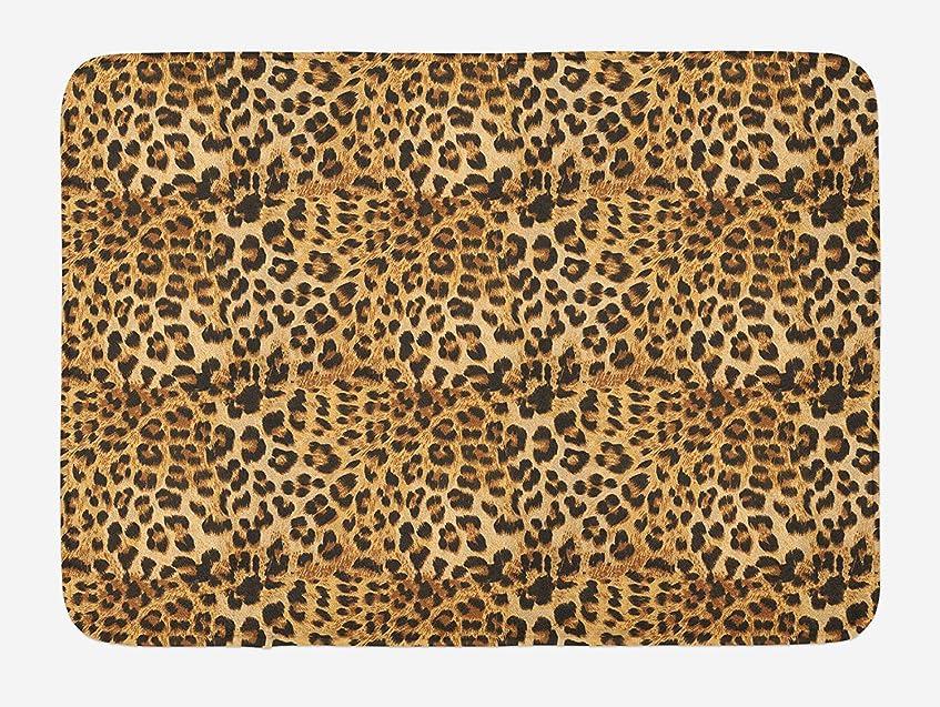 見落とすよろめくレスリングブラウンバスマット、ヒョウ柄の動物の皮膚のデジタルプリントワイルドアフリカンサファリテーマは、パターン?アート、滑り止めバッキングとぬいぐるみバスルームインテリアマット、40 x 60 CMインチ、ブラウンの斑点 [並行輸入品]