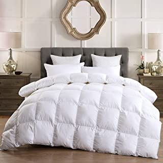 LESNNCIER Luxurious Lightweight Goose Down Comforter Twin Size Duvet Insert 1200 Thread Count 750+ Fill Power 100% Cotton Shell Hypo-allergenic(Twin, White)