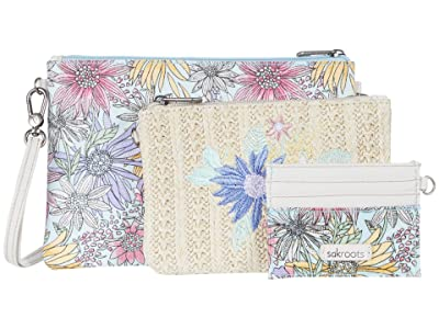 Sakroots Artist Circle Adventure Triple Pouch (Pastel Flower Garden) Handbags