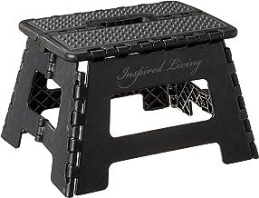 """Inspired Living Folding Step Stool Heavy Duty 9"""" High ME9359-BLKGR"""