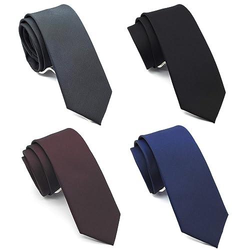 099e05d81d6a ZENXUS Solid Skinny Ties for Men 4-PACK, Classic 2½