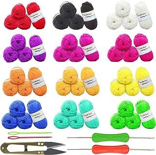 MEZOOM 48Pcs Fil de Crochet Coton Multicolore Epaisse Pelotes de Laine Douce Pelote de Laine en Acrylique Coton pour Croch...