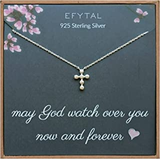 EFYTAL Small Cross Necklace for Women and Girls, Christian Gifts for Easter, First Communion, Confirmation, Baptism, Sterling Silver Dainty CZ, Tiny Pendant Jewelry, Religious Gift for Catholic Birthday