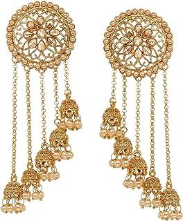 Bindhani Fashion Bollywood Jewellery Traditional Ethnic Bridal Bride Wedding Bridesmaid Gold Plated Kundan Long Faux Pearl Drop Jhumka Jhumki Indian Bahubali Earrings Jewelry For Women