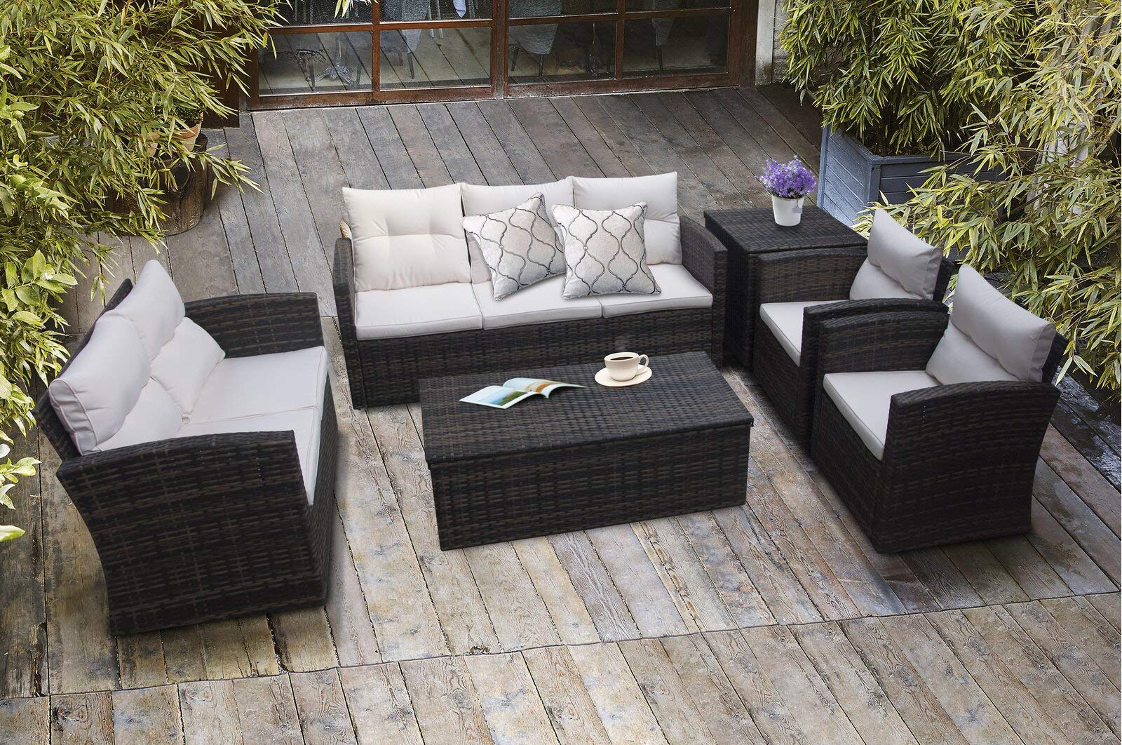 Asifom 6 Piece 7 Seats Outdoor Patio Furniture Conversation Sets PE Rattan Wicker Sectional Sofa Loveseat Chair Seating Gr...
