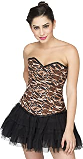 Animal Print Polyester Goth Steampunk Waist Training Bustier Overbust Corset Top
