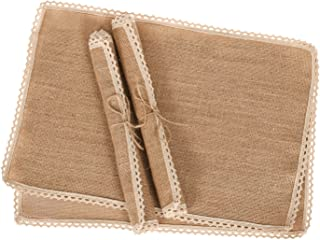 Ling's moment Rustic Placemats, Burlap Placemats, Jute Placemat Set of 4 Country Vintage Dinner Decoration Farmhouse Kitchen Table Decor,for Parties, BBQ's, Holidays Use