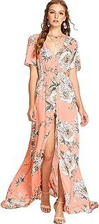 Women Floral Print Button Up Split Flowy Party Maxi Dress