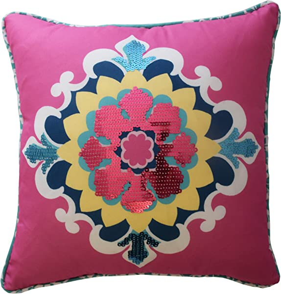 Waverly Kids 16438015X015MUL Bollywood 15 Inch By 15 Inch Sequin Decorative Accessory Pillow Multi