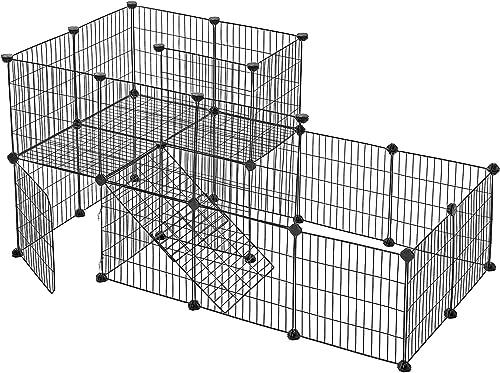 SONGMICS Clôture pour Animaux domestiques, 2 Niveaux, Enclos modulable, pour Petits Animaux, Lapins, Cochon d'Inde, P...