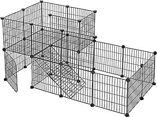 SONGMICS Husdjursbur 2 våningar, gör-det-själv smådjurshus med dörr, kaninstall, marsvin, metallgaller, för inomhusbruk, 1...