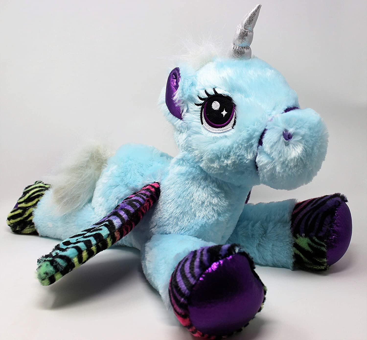 Adorable 18  Extra Soft Large Laying Unicorn, Pale bluee with Contrasting White Mane & Tail, Silver Horn, Multi Coloured Wings and Feet, Embroidered Eyes.