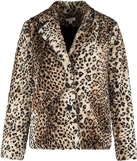 女式豹豹纹毛绒人造毛皮外套夹克