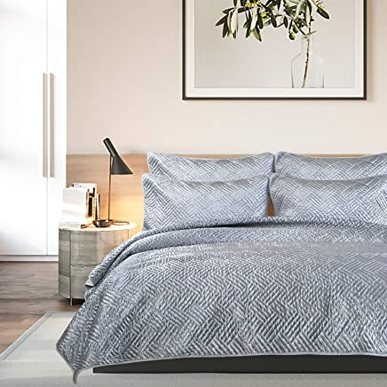 NTBAY Satin Quilt Set,  with Pillow Shams,  3 Pieces,  Stitched Quilt Pattern,  Coverlet,  Soft Satin,  Microfiber Bed Cover,  King,  Grey