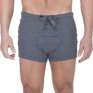 Men's Hypoallergenic Ribbed Drawstring Boxer Brief with Fly Made from 100% Organic Cotton