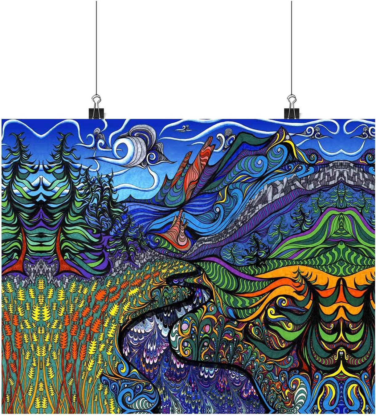 Psychedelic Wall Paper painting Trip Trippy Art A0,A1,A2,A3,A4 Poster