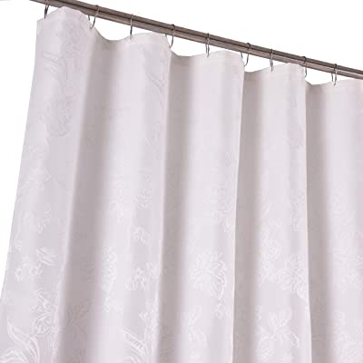 Dainty Home Floral Heavy Matelasse Fabric Shower Curtain, White