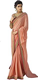 Magneitta Womens Ethnic Wedding And Party Wear Heavy Handwork Designer Sari Heavy Work Sarees,6.30 Mtr Including 1 Meter Designer Blouse Piece,As Per the Picture