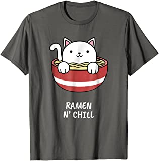 Kawaii Japanese Anime Cat Ramen T-Shirt Kids Girl Japan Tee