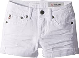 AG Adriano Goldschmied Kids The Heather Roll Cuff Shorts in White (Big Kids)