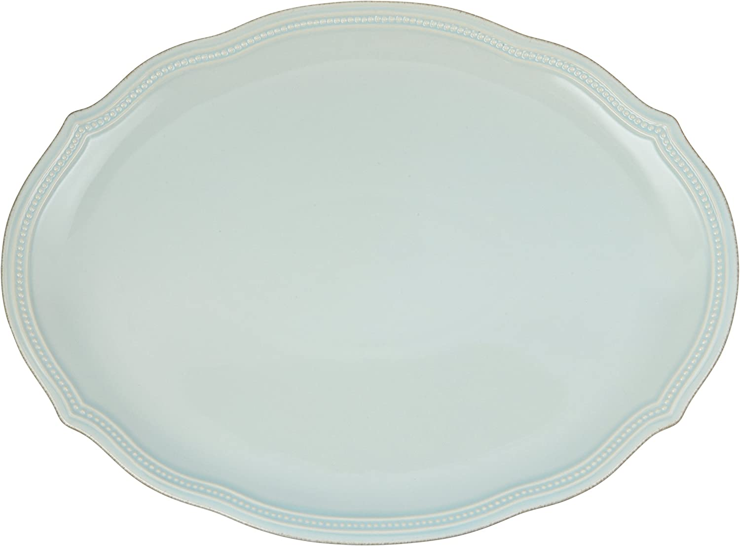 Lenox French Perle Bead Oval Platter, Ice bluee