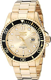 Men's Pro Diver Quartz Watch with Stainless Steel Strap, Gold, 22 (Model: 30025)