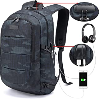 Tzowla Business Laptop Backpack Water Resistant Anti-Theft College Backpack with USB Charging Port and Lock 15.6 Inch Computer Backpacks for Women Men, Casual Hiking Travel Daypack (Navy Blue Camo)