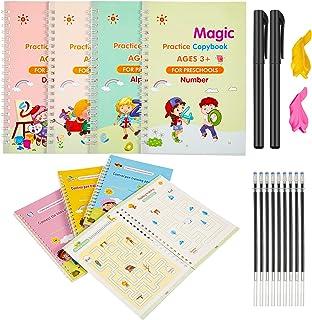 TaoBary 8 Pieces English Practice Copybook for Kids Reusable Calligraphy Copybook Preschoolers Magic Handwriting Workbook ...