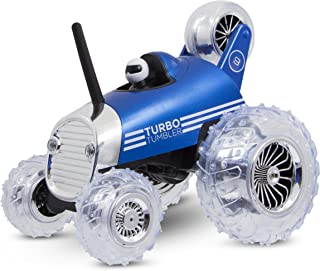 Sharper Image Premium Turbo Tumbler 49MHz Childrenís Remote Control Spinning 360∞ Rally Car Toy for Boys/Girls, Stunt RC Race Truck with Driver ñ Blue