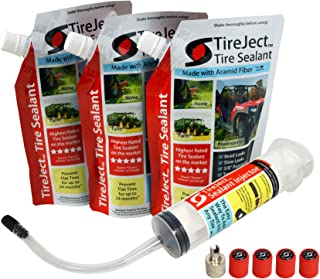 Lawn Mower Tire Sealant - Flat Tire Protection Kit with Sealant Injector