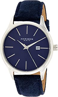 AK1019 Men's Suede Leather Watch – Classic Round Casual Designer Wristwatch Date Window Sunray Dial