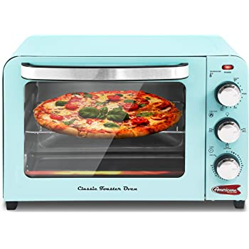 "Elite Gourmet Americana ERO-2600XBL Fits 12"" Pizza Vintage Diner 50's Retro Countertop Toaster oven Bake, Broil, Toast, Temperature Control & Adjustable 60-Minute Timer, 6 Slice, Mint Blue"