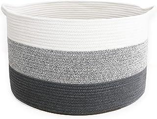 YLWHZOVE Panier en corde de coton XXXL pour enfants, largeur 55,9 cm × 35,6 cm, panier de rangement tissé pour jouets, pan...