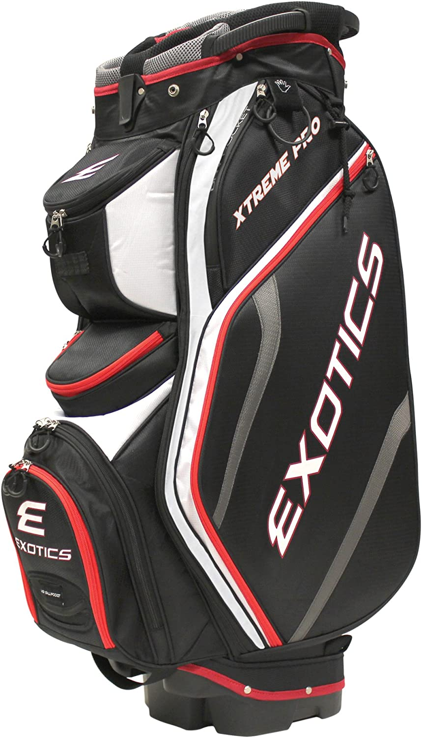 Tour Edge Exotics Extreme Pro Deluxe Cart Bag (Men's, Exotics Extreme Pro Deluxe Cart Bag Black White Red) ()