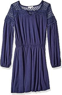 Girls' Big Midi Dress with Mesh Trim