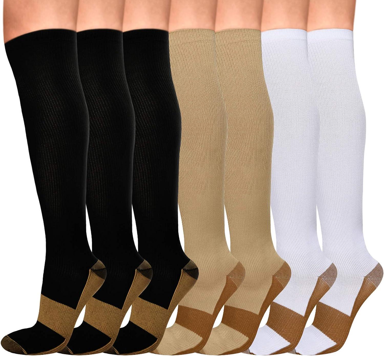 Elloevn 7 Pairs Copper Compression 付与 15-20mm Men Women Socks for 内祝い