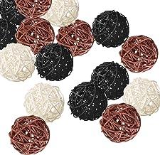 Kubert 15PCS Mixed White Black Brown Rattan Ball, 2 Inch Wicker Ball Decorative Ball Orbs Vase Fillers=