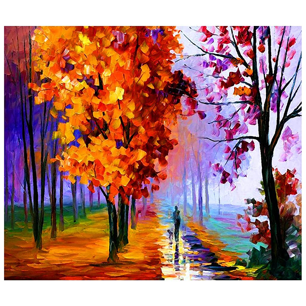 [Framless] DIY Oil Painting Paint by Number Kit for Adults Kids-Romantic Love Autumn (6) 16x20 Inch