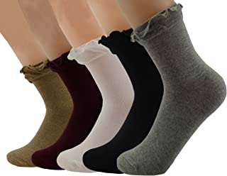5 Pairs Women Girls lace cotton Lady's no show ruffle Retro Ankle frilly Socks LWZ2